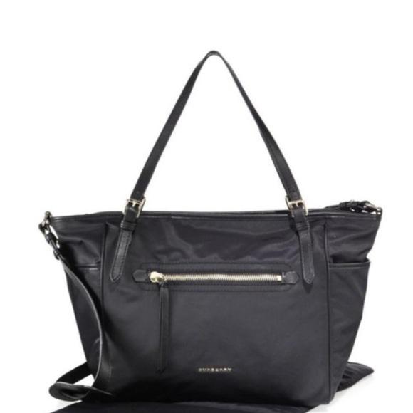 Burberry Handbags - Burberry Black Nylon Diaper Bag with leather trim